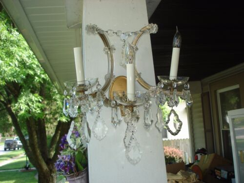 Pair Of Vintage Crystal Wall Light Sconces