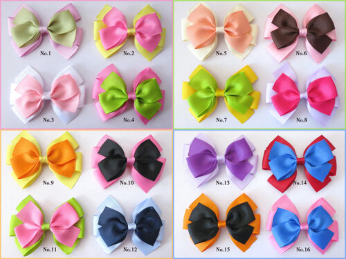"""200 BLESSING Good Girl Boutique 4.5"""" Double Bowknot Hair Bow Clip Accessories"""