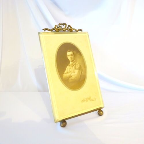 Vintage Brass Frame French Art Nouveau Beveled Glass Photo Picture Antique