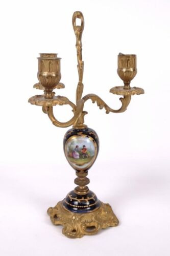 French Gilt Bronze & Porcelain Candlestick Candelabra Louis XVI Sevres Style
