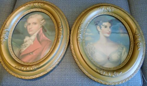 Pair c.1850 Oval picture frames...wood...from Cincinnati Looking Glass Factory