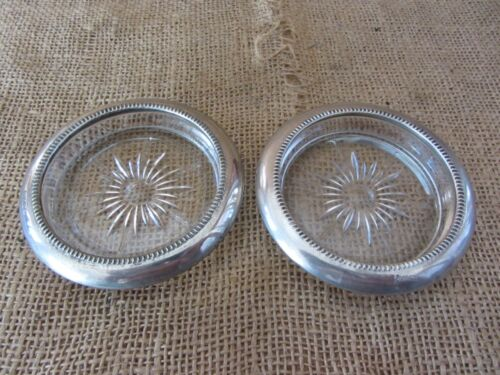 Vintage Italian Silver Plate & Glass Coasters > Antique Table Set of Two 6794