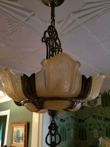RARE Antique 1930's Art Deco Slip Shade Chandelier Ceiling Light Fixture Rewired