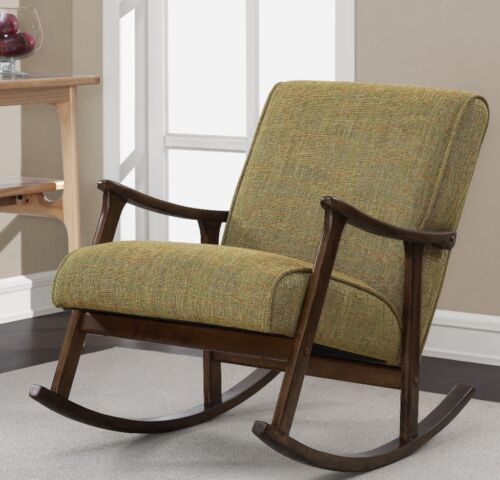 Mid Century Upholstered Green Wooden Arm Rocking Chair Living Room Furniture