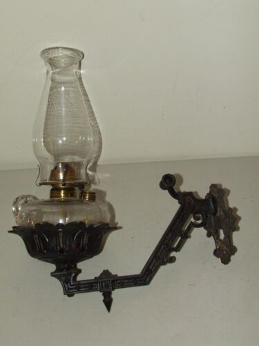 Antique Victorian Cast Iron Wall Sconce Bracket with Removable Oil Lamp P&A Mfg.