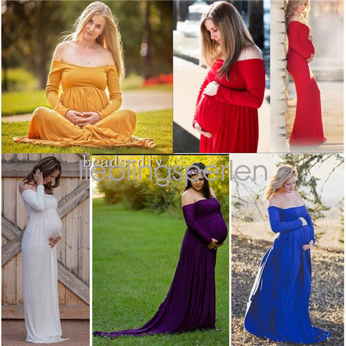 New Maternity Women Off Shoulder Photography Maxi Dress Cotton Long Sleeve Props