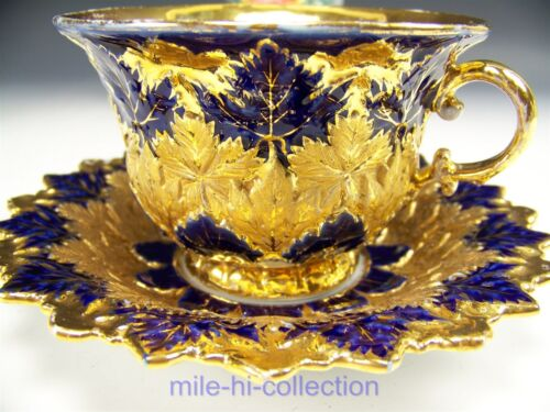 1ST QUALITY MEISSEN RARE COBALT EMBOSSED HIGH RELIEF GOLD GILT TEA CUP & SAUCER
