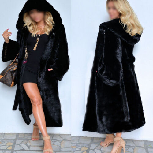 2017 Women Faux Fur Coat Casual Hood Parka Winter Long Trench Jacket Outwear