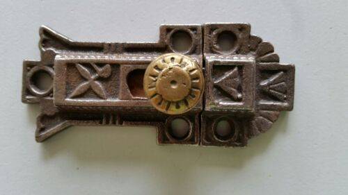 RESTORED VINTAGE CAST IRON CABINET CUPBOARD LATCH CATCH  WITH BRASS KNOB (940)