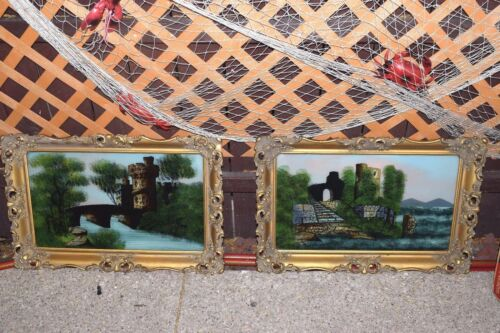 Vintage Pair of Victorian Reverse Glass Painting of Castles on Gold Gilt Frames