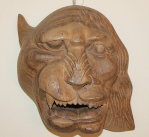 Antique Solid Teak Wood Wooden Beast Monster Mask Tiger Lion