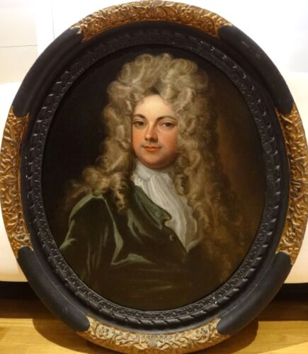 Large 18th Century French Old Master Gentleman Portrait Antique Oil Painting