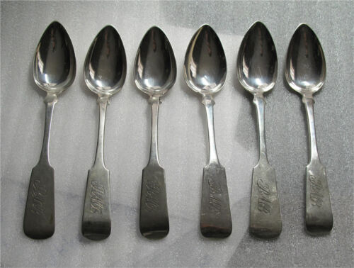1817 American sterling / coin silver tea, coffee spoons THOMAS BAKER, Salem, MA