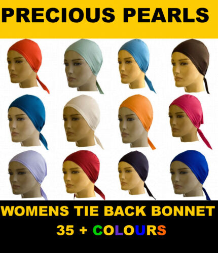 Under scarf/hijab bonnet in many different pretty colours Bandala TIEBACK Chemo