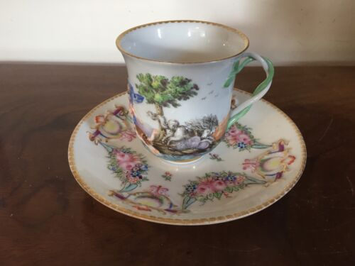 19th c. Antique Italian Naples Capodimonte Porcelain Tea Cup & Saucer Cherub