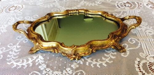 FRENCH ROCOCO STYLED DRESSER OR TABLE MIRROR, MIRRORED PLATEAU STAND GOLD GILT
