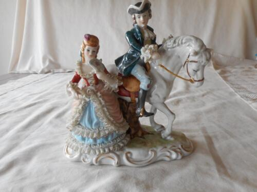 Vintage German Dresden Lace Colonial Couple Man On Horse Woman With Fan Figurine