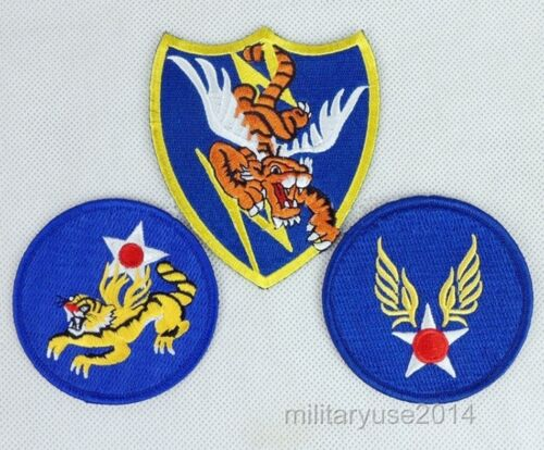3 Full Size WWII US Army Air Force A.V.G. Pilot Flying Tigers PatchReproductions - 156452