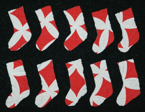 10 PRIMITIVE ANTIQUE CUTTER QUILT STOCKINGS! RED/WHITE! Scrapbooking! Applique!