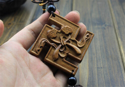 Wood Carving Chinese Wealth Buddhist Symbol Car Pendant Amulet Wooden Crafts