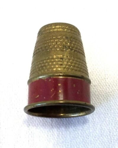Brass Thimble With Red Enamel Band-Sewing-Crafts-Vintage                   #2880