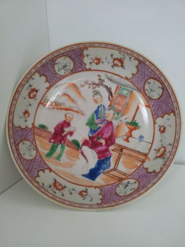 Antique Hand Painted Chinese Famille Rose Shallow Dish