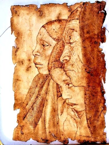 NATIVE AMERICAN INDIAN PICTURE H/DRAWING W/SOLDERING GUN ON LEATHER SIGNED