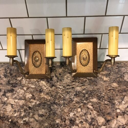 Beautiful Wall Sconce Fixtures Antique Wired Pair 4A