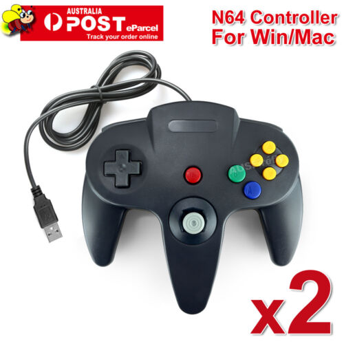 2x NINTENDO 64 N64 GAMES CLASSIC GAMEPAD CONTROLLERS FOR USB TO PC / MAC