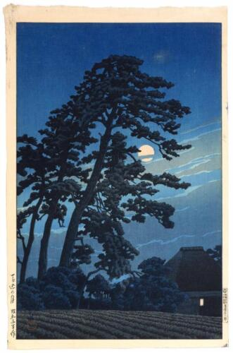"""KAWASE HASUI """"Full Moon at Magome"""". Depicting pine trees silhouetted ... Lot 632"""