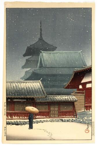"KAWASE HASUI ""Tennoji Temple in Osaka"". Depicting a figure with an um... Lot 626"