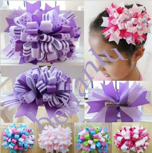 """14 BLESSING Happy Girl Boutique 4.5"""" Loopy Puffs Fireworks Hair Bows Clip"""