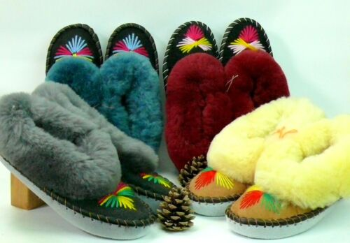 LADIES SHEEPSKIN SLIPPERS 100% LEATHER FOR HANDMADE HAND-EMBROIDERED ALL SIZES