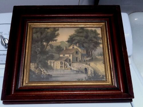 Antique 19thC Walnut Deep Picture Frame with Glass  fits 8 x 10