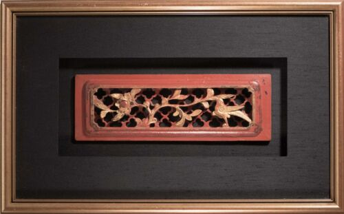 Antique Chinese Carved Wood Relief With Birds & Flowers, Beautifully Framed!