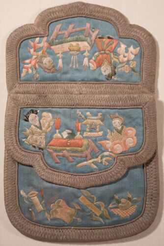 Antique Chinese Silk Embroidered Wedding Coin Purse With Figures & Object, FINE!