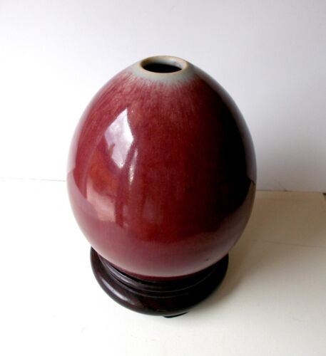 Antique CHINESE PORCELAIN OX-BLOOD Shaped Vase Pot with a wooden base