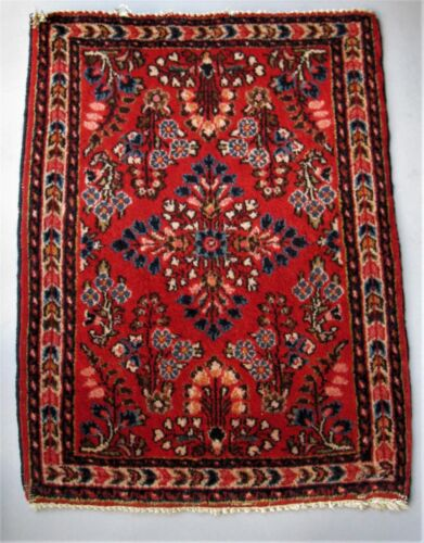 VINTAGE SAROUK ORIENTAL THROW RUG BURGUNDY RED GROUND FLORAL MOTIFS CA 1960's