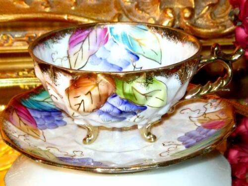 3 Footed IRIDESCENT GOLD GRAPE CLUSTER HPT JAPAN Tea CUP and SAUCER