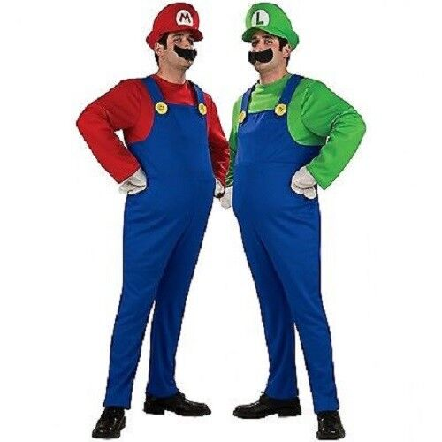 SUPER MARIO and LUIGI BROS PLUMBER ADULT MENS COSTUME + HAT & MOUSTACHE SMALL-XL