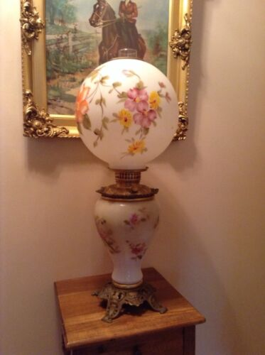 Antique Eureka 1897 GWTW very large oil lamp white w/flowers