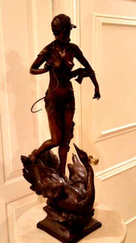 """BRONZE STATUE LEDA AND THE SWAN 31"""" HIGH 14 """" WIDE"""