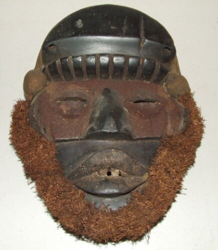 Antique 1800's African Congo Ritual Fetish Hand Carved Tribal Mask Congo Africa