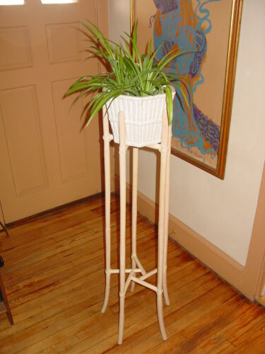 """Vintage McGuire Furniture Bamboo Rattan 48"""" Tall Plant Stand w/ Jardiniere"""