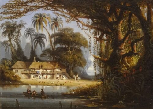 Fine 19th Century Brazil Forest French Colonial Landscape Antique Oil Painting