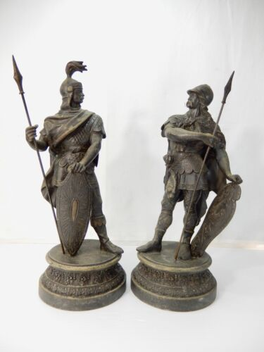 Pair Antique Spelter Warriors with Spears & Shields