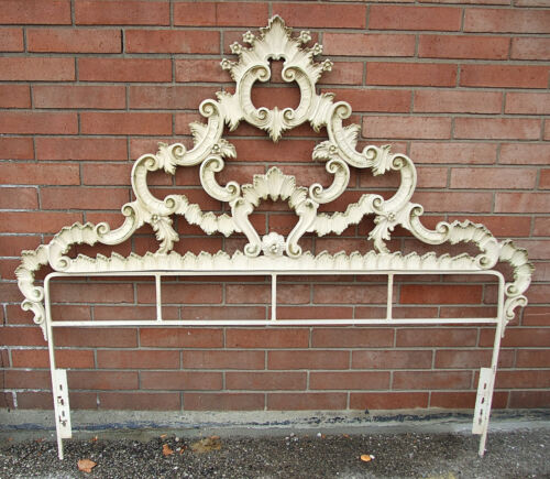 Vintage Rococo Baroque FRENCH PROVINCIAL Gold Gilt FULL CAST IRON HEADBOARD