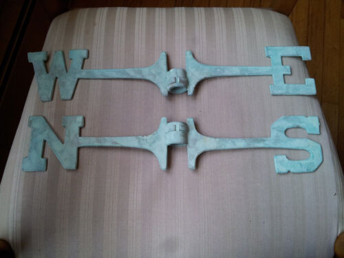 Weathervane 18 Inch Directionals Set Solid Brass N S E W - Green Patina Dust