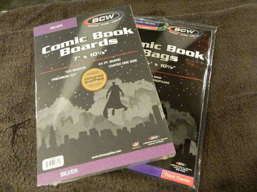 100 New BCW Silver Age Thick Comic Book Bags And Boards - Acid Free - Archival
