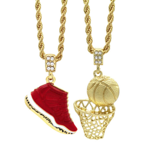"""Gold Plated Hip Hop Retro 11 Gym Red & Plain Basketball Pendant 4mm 24"""" Chain"""